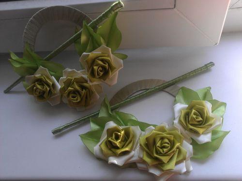 Цветы для штор канзаши
