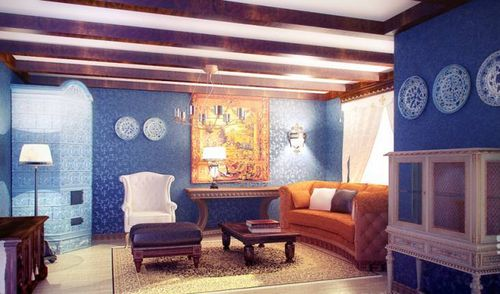 шторы к голубым обоям