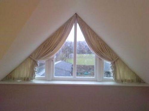 Дизайн штор на треугольные окна идеи и фото