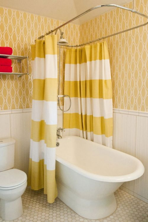 Круглые карнизы для штор в ванную