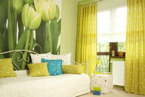 Используем салатовые шторы в интерьере комнат